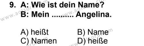 Almanca 1 Dersi 2012-2013 Yılı 1. Dönem Sınavı 9. Soru