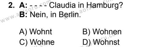 Almanca 1 Dersi 2019 - 2020 Yılı 1. Dönem Sınav Soruları 2. Soru