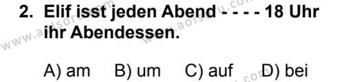 Almanca 2 Dersi 2019 - 2020 Yılı 1. Dönem Sınav Soruları 2. Soru