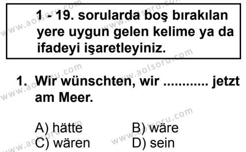 Almanca 6 Dersi 2013 - 2014 Yılı 3. Dönem Sınav Soruları 1. Soru