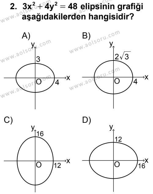 Analitik Geometri 2 Dersi 2011 - 2012 Yılı Ek Sınav Soruları 2. Soru