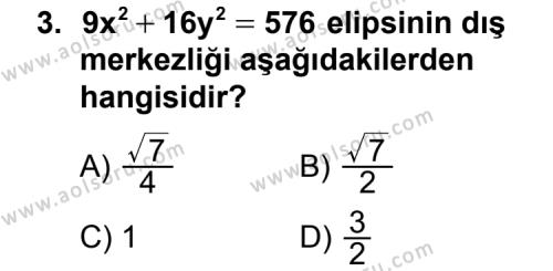 Analitik Geometri 2 Dersi 2011 - 2012 Yılı Ek Sınav Soruları 3. Soru