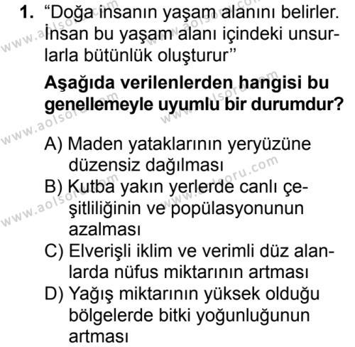 Coğrafya 1 Dersi 2018 - 2019 Yılı 3. Dönem Sınavı 1. Soru