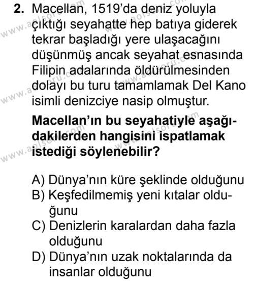 Coğrafya 1 Dersi 2018 - 2019 Yılı 3. Dönem Sınavı 2. Soru