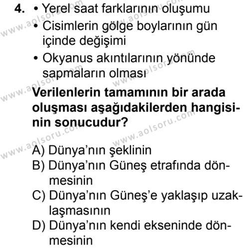 Coğrafya 1 Dersi 2018 - 2019 Yılı 3. Dönem Sınavı 4. Soru