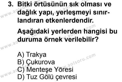 Coğrafya 4 Dersi 2011 - 2012 Yılı Ek Sınav Soruları 3. Soru