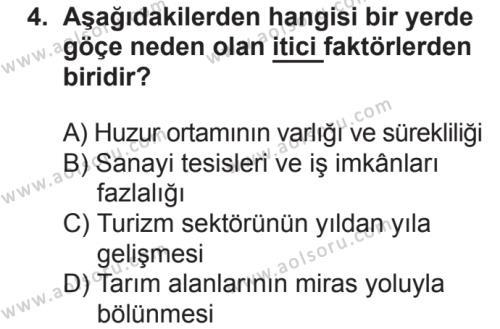 Coğrafya 4 Dersi 2018 - 2019 Yılı 2. Dönem Sınavı 4. Soru