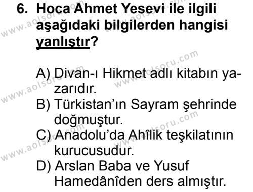Din Kültürü ve Ahlak Bilgisi 2 Dersi 2011-2012 Yılı 1. Dönem Sınavı 6. Soru