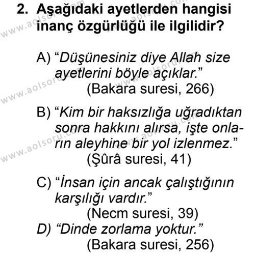 Din Kültürü ve Ahlak Bilgisi 4 Dersi 2011 - 2012 Yılı Ek Sınav Soruları 2. Soru