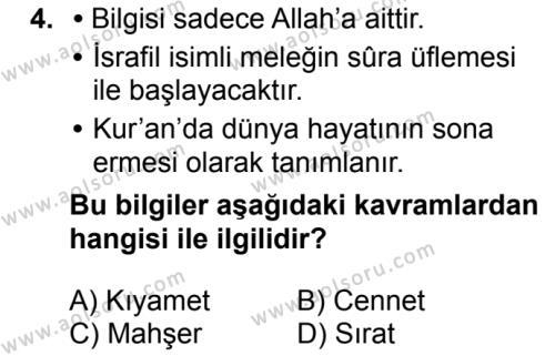 Din Kültürü ve Ahlak Bilgisi 5 Dersi 2018 - 2019 Yılı 3. Dönem Sınavı 4. Soru