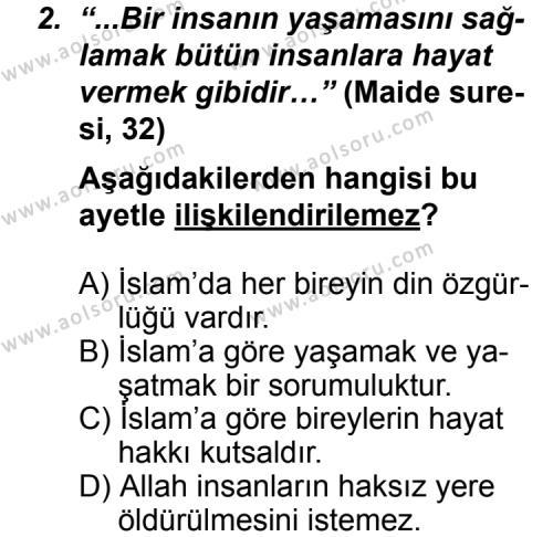 Din Kültürü ve Ahlak Bilgisi 6 Dersi 2011 - 2012 Yılı Ek Sınav Soruları 2. Soru
