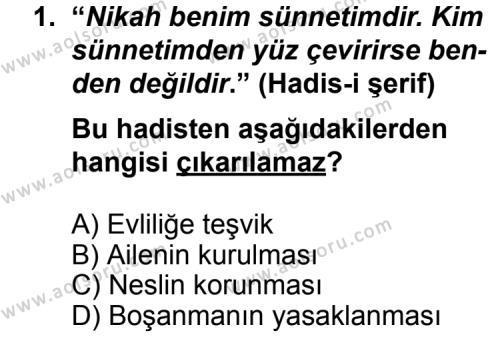 Din Kültürü ve Ahlak Bilgisi 6 Dersi 2013 - 2014 Yılı 3. Dönem Sınav Soruları 1. Soru