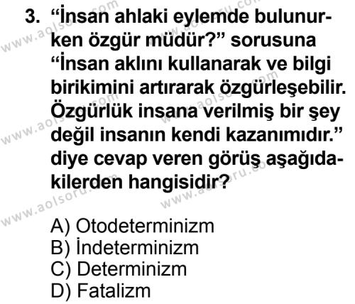 Felsefe 2 Dersi 2013 - 2014 Yılı 3. Dönem Sınav Soruları 3. Soru