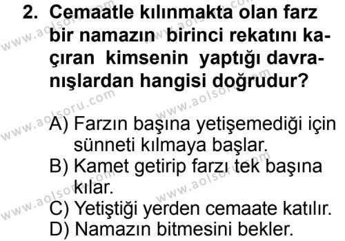 Fıkıh 2 Dersi 2014 - 2015 Yılı 2. Dönem Sınavı 2. Soru