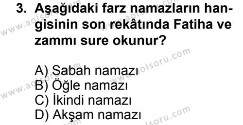 Fıkıh 2 Dersi 2014 - 2015 Yılı 2. Dönem Sınavı 3. Soru