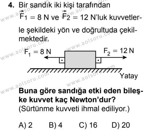 Fizik 1 Dersi 2019 - 2020 Yılı 1. Dönem Sınav Soruları 4. Soru