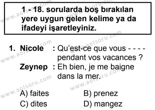 Fransızca 2 Dersi 2019 - 2020 Yılı 1. Dönem Sınav Soruları 1. Soru