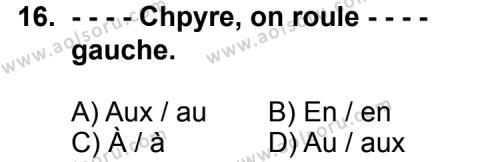 Fransızca 5 Dersi 2015-2016 Yılı 1. Dönem Sınavı 16. Soru