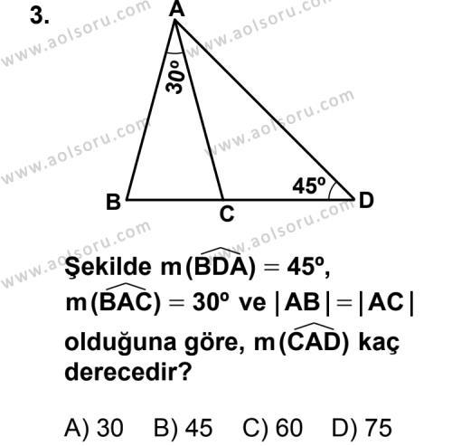 Geometri 4 Dersi 2013 - 2014 Yılı 3. Dönem Sınav Soruları 3. Soru