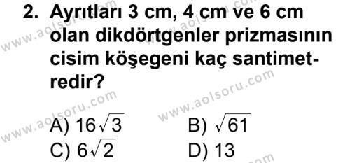 Geometri 7 Dersi 2011 - 2012 Yılı Ek Sınav Soruları 2. Soru