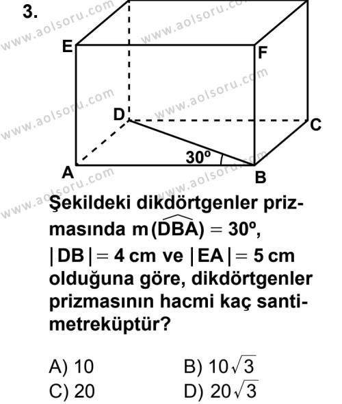 Geometri 7 Dersi 2013 - 2014 Yılı 3. Dönem Sınav Soruları 3. Soru
