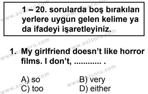 İngilizce 1 Dersi 2011 - 2012 Yılı Ek Sınav Soruları 1. Soru