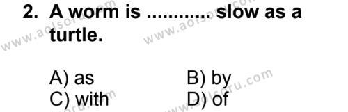 İngilizce 1 Dersi 2011 - 2012 Yılı Ek Sınav Soruları 2. Soru