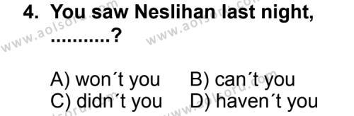 İngilizce 1 Dersi 2011 - 2012 Yılı Ek Sınav Soruları 4. Soru