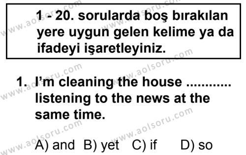 İngilizce 3 Dersi 2013 - 2014 Yılı 3. Dönem Sınav Soruları 1. Soru