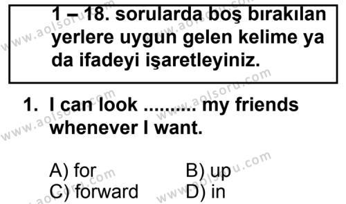 İngilizce 8 Dersi 2011 - 2012 Yılı Ek Sınav Soruları 1. Soru