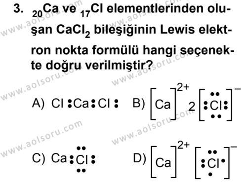 Kimya 2 Dersi 2019 - 2020 Yılı 1. Dönem Sınav Soruları 3. Soru