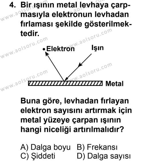 Kimya 3 Dersi 2013 - 2014 Yılı 3. Dönem Sınav Soruları 4. Soru