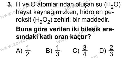 Kimya 3 Dersi 2018 - 2019 Yılı Ek Sınav Soruları 3. Soru