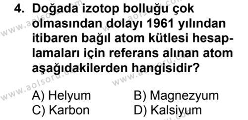 Kimya 3 Dersi 2018 - 2019 Yılı Ek Sınav Soruları 4. Soru