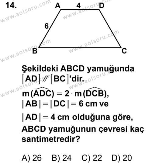Matematik 3 Dersi 2014-2015 Yılı 1. Dönem Sınavı 14. Soru