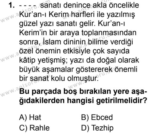 Osmanlı Türkçesi 1 Dersi 2019 - 2020 Yılı 1. Dönem Sınav Soruları 1. Soru