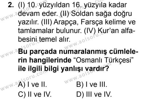 Osmanlı Türkçesi 1 Dersi 2019 - 2020 Yılı 1. Dönem Sınav Soruları 2. Soru