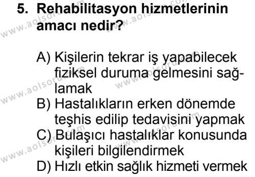 Sağlık Bilgisi 1 Dersi 2012-2013 Yılı 1. Dönem Sınavı 5. Soru