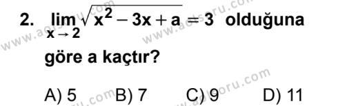 Seçmeli Matematik 4 Dersi 2019 - 2020 Yılı 2. Dönem Sınav Soruları 2. Soru
