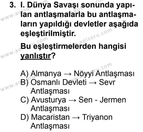 Seçmeli Çağdaş Türk ve Dünyası Tarihi 1 Dersi 2011 - 2012 Yılı Ek Sınav Soruları 3. Soru