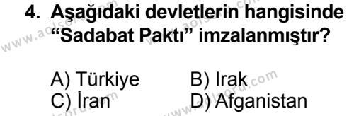 Seçmeli Çağdaş Türk ve Dünyası Tarihi 1 Dersi 2011 - 2012 Yılı Ek Sınav Soruları 4. Soru