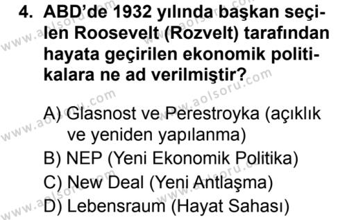 Seçmeli Çağdaş Türk ve Dünyası Tarihi 1 Dersi 2019 - 2020 Yılı 1. Dönem Sınav Soruları 4. Soru