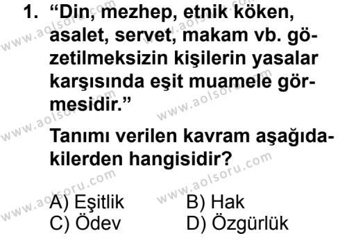 Seçmeli Demokrasi ve İnsan Hakları 1 Dersi 2011 - 2012 Yılı Ek Sınav Soruları 1. Soru