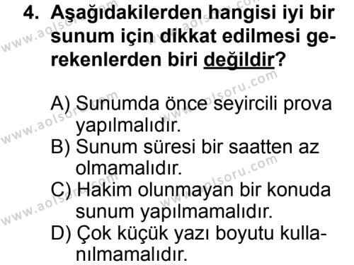 Seçmeli Dil ve Anlatım 3 Dersi 2013 - 2014 Yılı 3. Dönem Sınav Soruları 4. Soru
