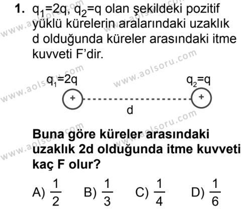 Seçmeli Fizik 2 Dersi 2018 - 2019 Yılı Ek Sınav Soruları 1. Soru