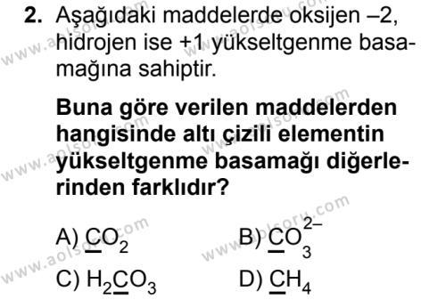 Seçmeli Kimya 3 Dersi 2019 - 2020 Yılı 1. Dönem Sınav Soruları 2. Soru