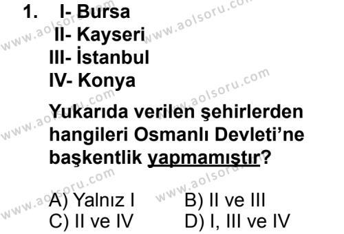 Seçmeli Tarih 3 Dersi 2013 - 2014 Yılı 3. Dönem Sınav Soruları 1. Soru