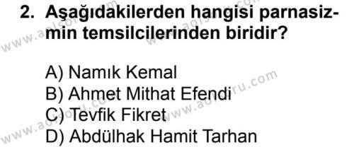 Seçmeli Türk Dili ve Edebiyatı 1 Dersi 2018-2019 Yılı 1. Dönem Sınavı 2. Soru