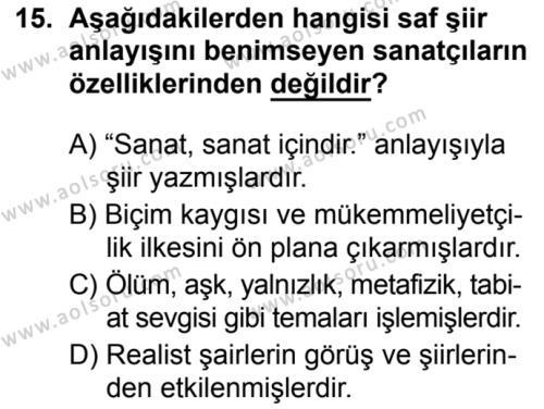 Seçmeli Türk Dili ve Edebiyatı 1 Dersi 2019-2020 Yılı 1. Dönem Sınavı 15. Soru