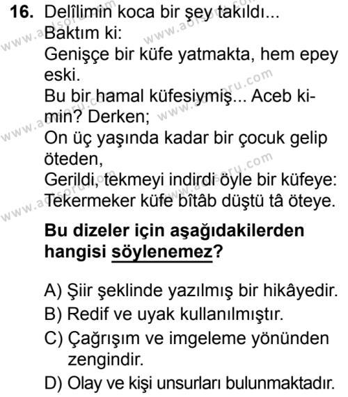 Seçmeli Türk Dili ve Edebiyatı 1 Dersi 2019-2020 Yılı 1. Dönem Sınavı 16. Soru